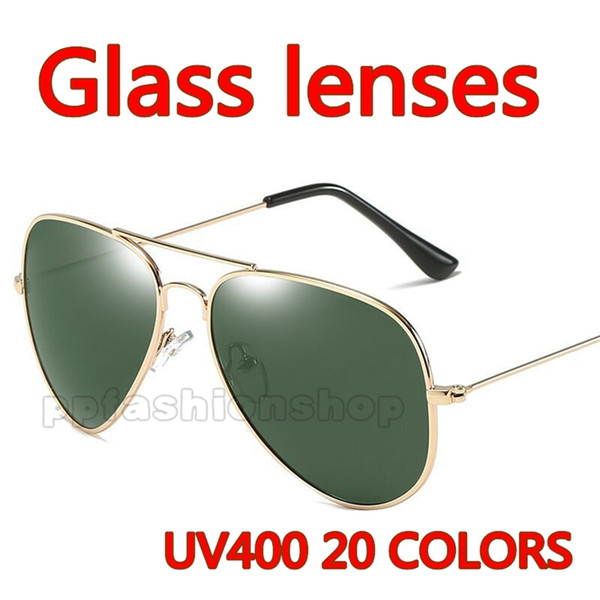 51706fe6ee High quality Glass lens pilot Fashion Sunglasses For Men and Women Brand  designer Vintage Sport Sun glasses With case and box