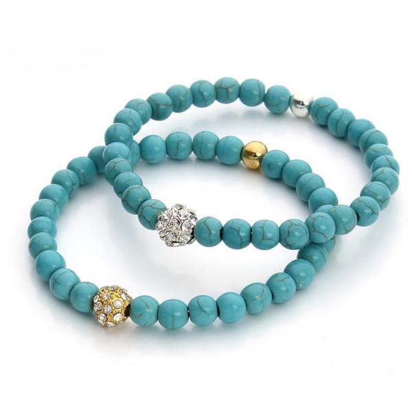Charm Blue Tophus Strass Ball Dekoration Armband Mode Perlen Armreif Kette Schmuck