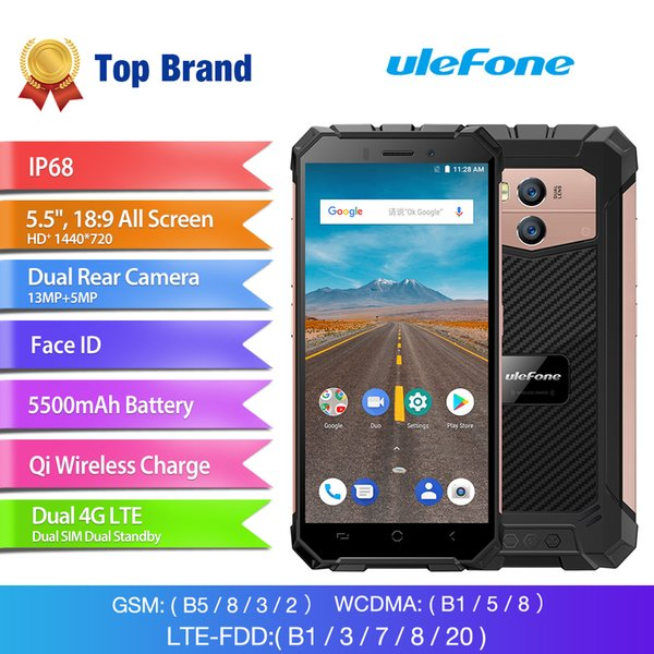 "Ulefone Armor X Smartphone 5.5"" 18:9 Display 2GB RAM 5500mAh Mobile Phone MTK6739 Quad Core 16GB ROM Android 8.1 Face ID OTG Mobile Phone"