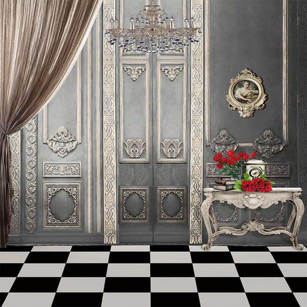 best selling Vintage Grey Wall Crystal Chandelier Interior Wedding Photography Backdrop Computer Printed Curtain Red Roses Books Photo Studio Backgrounds