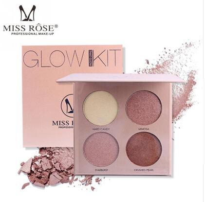 MISS ROSE 4 colori trucco evidenziatore in polvere Palette contouring naturale viso vellutato evidenzia in polvere correttore correttore viso kit