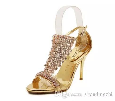 2016 nova moda verão strass Cristal stiletto sandálias sapatos moda @ 78