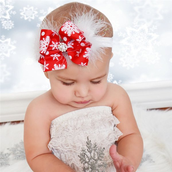 Merry Christmas Gift Baby Cute Red Bowknot Headbands Rhinestone snowflake Printed Hair Jewelry Baby Photography Props