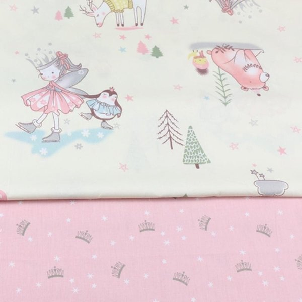 160CM*50CM Cotton Fabric DIY Sewing Craft Patchwork Quilting Tissue Tilda For Girls Home Textile Pillows Material Princess Crown