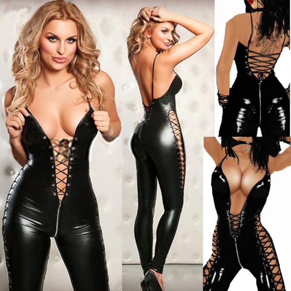 Lencería sexy Hot Prisoners Mujeres Encanto Salvaje Pu Cuero Teddy Sexy Babydoll Erótico Lenceria Club Mini Vestido Disfraces Y18102206