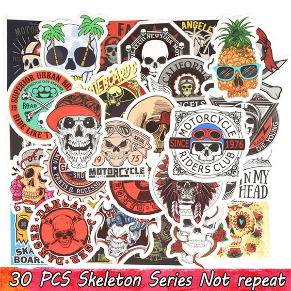 30 PZ Punk Cranio Adesivi In Vinile Bomba Horror Doodle Decalcomanie Impermeabile per DIY Laptop Skateboard Chitarra Bicicletta Moto Decorazione Regali