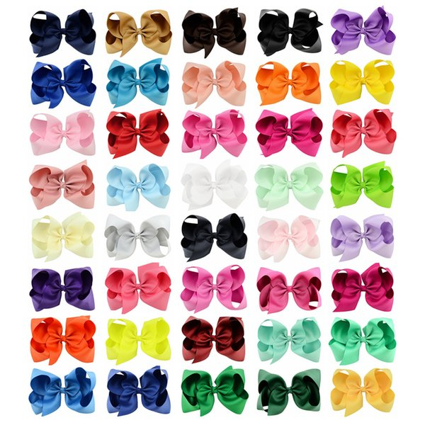 best selling 40 Colors 6 Inch Fashion Baby Ribbon Bow Hairpin Clips Girls Large Bowknot Barrette Kids Hair Boutique Bows Children Hair Accessories KFJ125