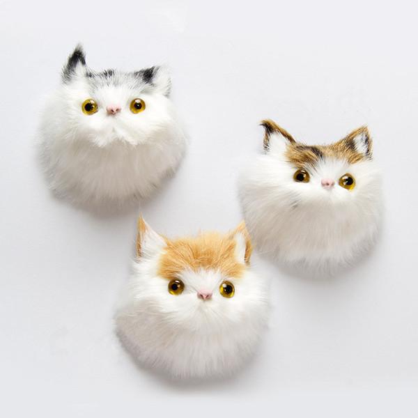 3 Teile / los Hochwertige Nette Plüsch Simulation Katze Kühlschrank Magnetische Aufkleber Kreative Dekoration Tier Kühlschrankmagnet