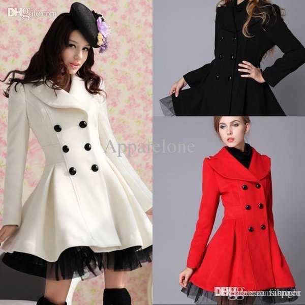 Wholesale-Lady Wool Blend Trench Coat Jacket Parka Dress Slim Fit Peacoat Outwear 4 Colour