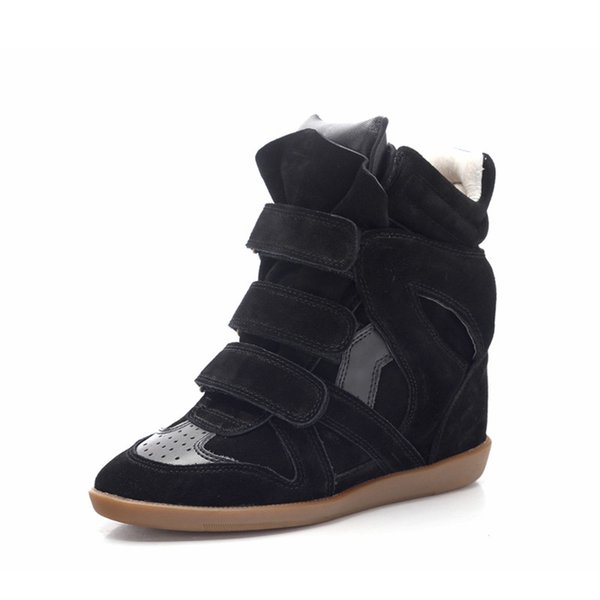 Fashion runway invisible wedge shoes woman suede leather ankle boots mixed colors high-top shoes women autumn winter booties