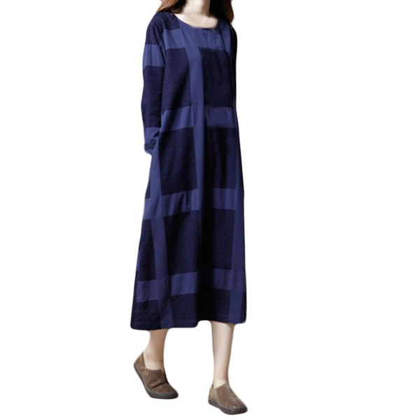 Womail Women Plus Size Lattice Cotton And Linen Long Sleeves Loose Long Dress sexy woman dress 2018 L30801