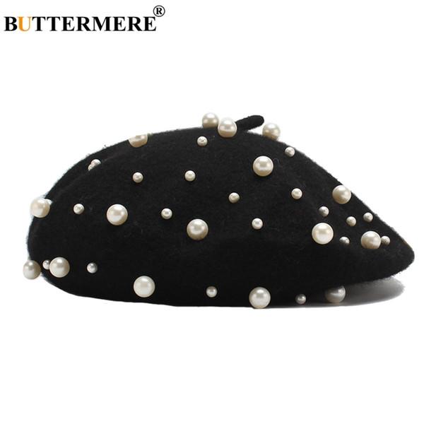 BUTTERMERE French Beret Hat Women Black Wool Duckbill Flat Caps Female Pearl Elegant Painters Hats Designer Autumn Directors Cap
