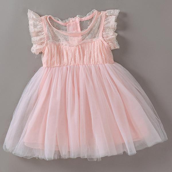 Großhandel 2018 Neue Factory Outlet Kleinkind Baby Mädchen Taufkleid Prinzessin Ball Party Hochzeit Spitzenkleid Taufe Erwachsene Kleider Rosa Farbe