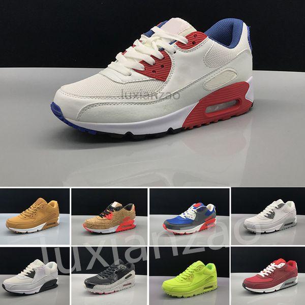 Großhandel Nike Air Max 90 Airmax Herren Turnschuhe Schuhe Klassische 90 Männer Und Frauen Freizeitschuhe Schwarz Rot Weiß Sport Trainer Luftpolster