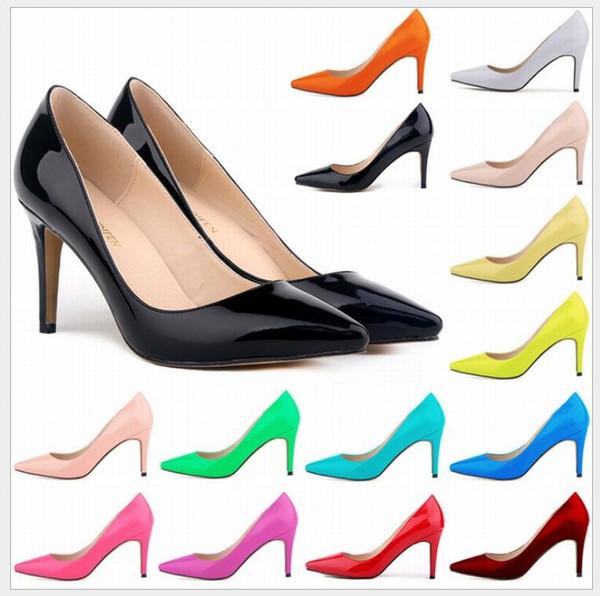 Tacones altos de las mujeres Sexy Brillante / Charol Tacones altos Bombas de punta en punta Desnudo Zapatos Zapatos de fiesta Mujeres Stiletto Bomba de tacón alto