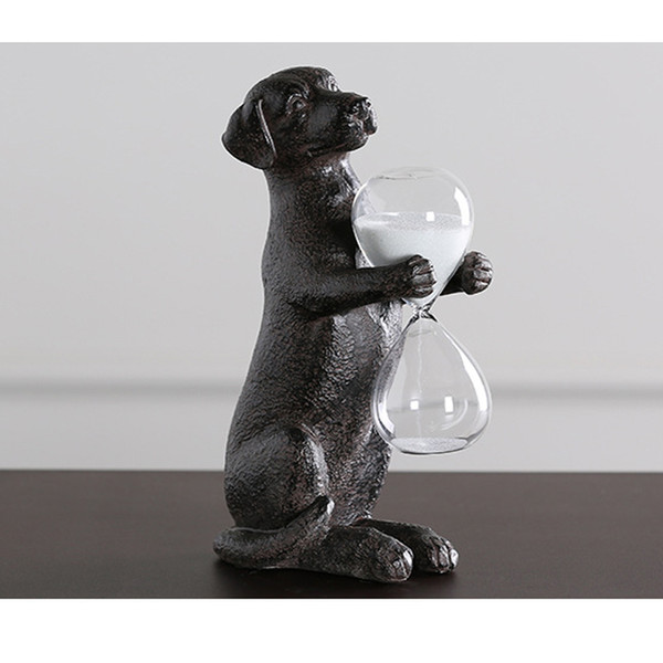 Resin Nordic Style Artwork Home Décor Rusty Dog Holding A Hourglass Creative Ornaments Retro Sand Hourglass Art Timer Clock