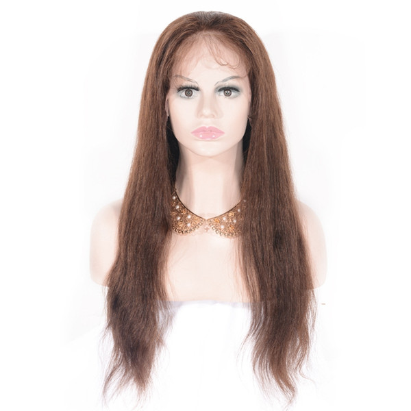 Zhifan High Quality Hand Hook Full Lace Wig Human Hair Nature Straight Brown Long Hair For Women