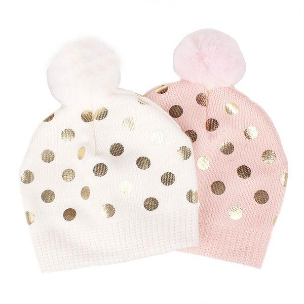 Christmas Newborn Baby Girl Knitted fur Caps Winter Toddler Princess Shinny Dots Hats Bebe Adjustable Knitting Caps