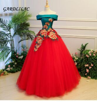 2018 New Off The Shoulder Red Quinceanera Dresses Tulle With Appliques Masquerade Ball Gown Sweet 16 Dress Vestidos De 15 Anos
