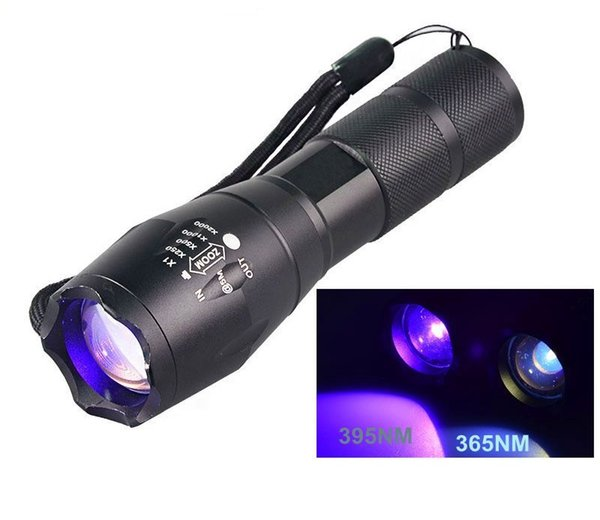 395nM 365nM LED UV Ultravioleta Linterna Lámpara 4W Potente 18650 Zoom UV Adhesivo Curado Seguridad de viaje Detección UV Flash Luz Antorcha coche