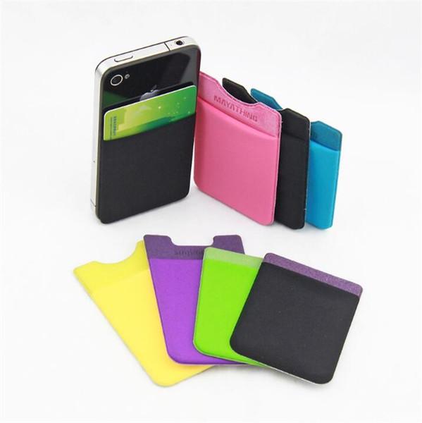 Soft Sock Wallet Tarjeta de crédito Cash Pocket Sticker Lycra Adhesive Holder Money Pouch Teléfono móvil 3M Gadget iphone Samsung