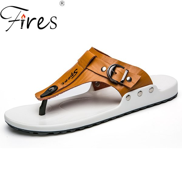 Fires Summer Men Slippers Artificial Leather Flip Flops For Man Vintage Casual Beach Sandals Non-slip Zapatos Shoes Man Loafers