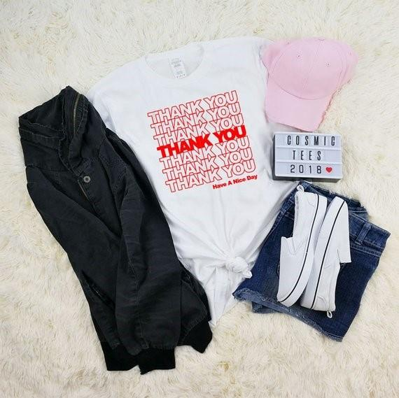 Skuggnas Thank you have a nice day grocery bag t-shirt Short Sleeve Fashion Summer Casual Tops Tee Girls Tumblr T shirt