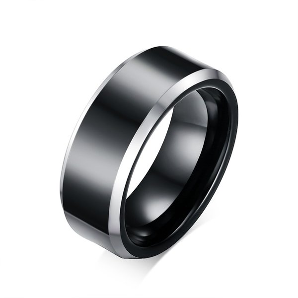 Black Tungsten Wedding Band Ring 8mm for Men Women Comfort Fit Beveled Edge Polished Size 7-12