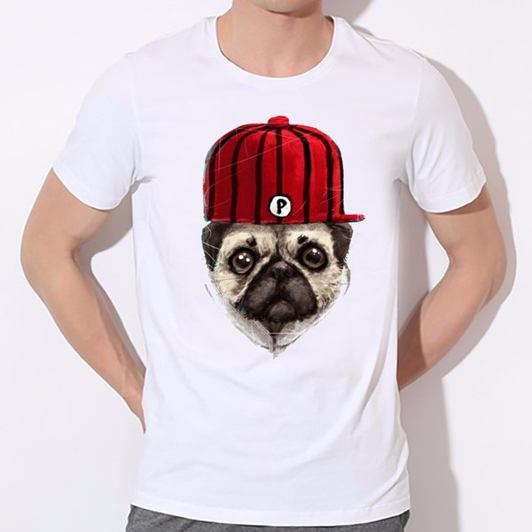 Wear a hat of handsome dog printed t-shirts 2016 men cartoon t shirt 3d animal/pug dog print t-shirt harajuku tshirt homme