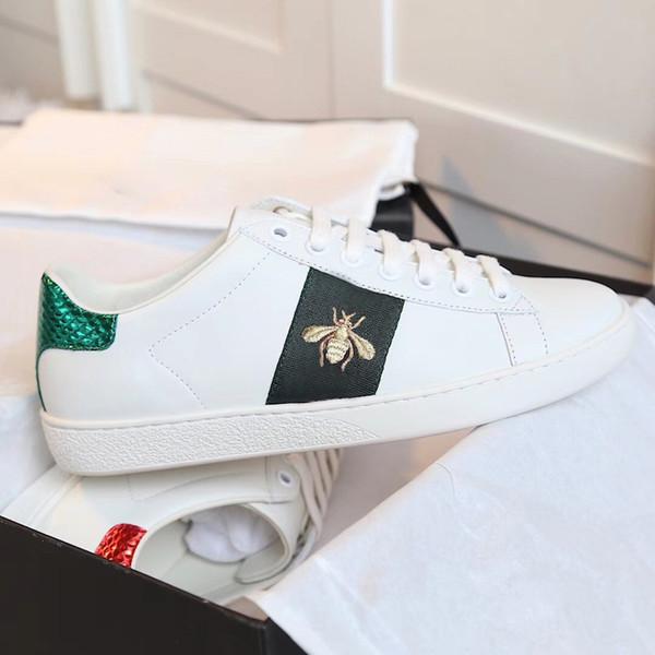 Yeni Tasarımcı ayakkabı 100% Ace deri sneaker erkekler kadınlar Klasik eğitmenler python kaplan arı Çiçek Işlemeli Horoz Aşk sneakers