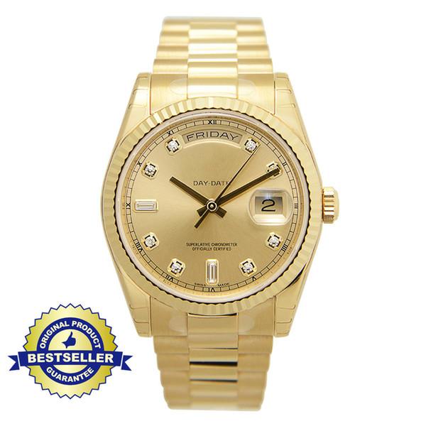 Relojes de lujo de 18 quilates de oro y diamantes para hombres, mujeres, día y fecha, movimiento automático de acero inoxidable para hombre