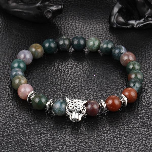 Außenhandel natürliche sieben Farbe Spar Achat Turmalin Kristall Hand String Perlen Silber Lion Leopard Kopf Armband Ornamente
