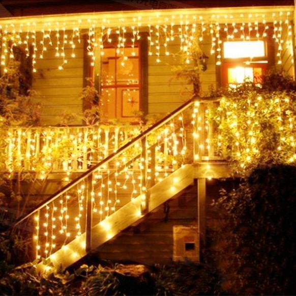 Weihnachtsbeleuchtung Außendekoration 4m 5m Droop 0,6-0,8m Led Vorhang Eiszapfen Lichterketten Neujahr Hochzeit Girlande Licht