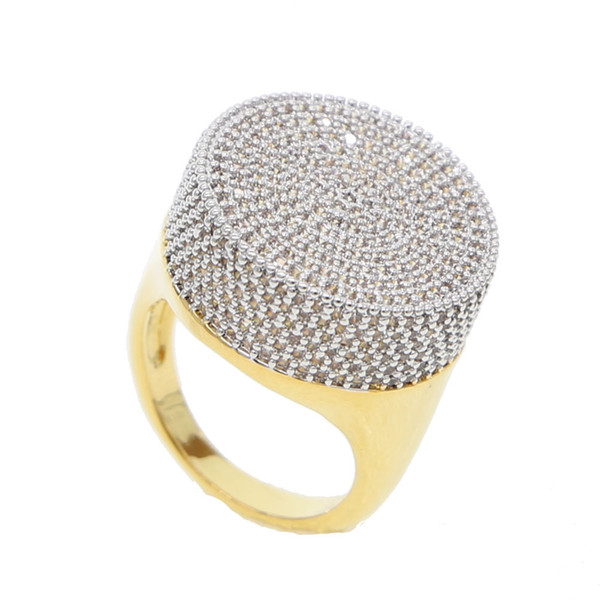 2018 new arrived big round shape gold hip hop bling iced out bling men's jewelry USA hot sellilng micro pave cz diamond gold ring