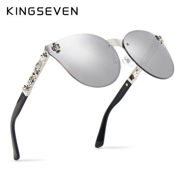 5ca0bfbcc KINGSEVEN Luxury Brand Fashion Women Gothic Mirror Eyewear Skull Frame Metal  Temple Oculos de sol UV400