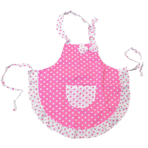 Kids Children Cute Bowknot Polka Dot Double Layer Frills Princess Girls Apron Kitchen Cooking Baking Paiting Apron Avental