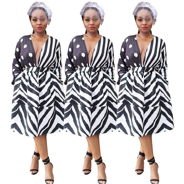 A word skirt fashion Women's clothes Long sleeves stripe Wave point printing Dress Trend New style