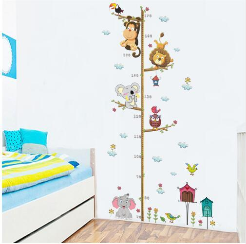 Free shipping Animals Lion Monkey Owl Height Measure Wall Sticker For Kids Rooms Growth Chart Nursery Room Decor Wall Decals Art