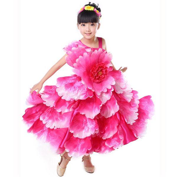 Children Flamenco Dance Costume Flamengo Modern Dance Performance Wear Petal Spanish Flamenco Dress 4 Layer540