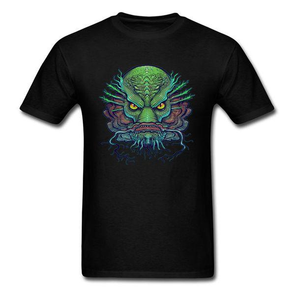 Maybe Fish Face T-shirt Men Tops Mutant Tshirt Monster Clothing Printed Summer T Shirts Cotton Tees Green Black Dragon