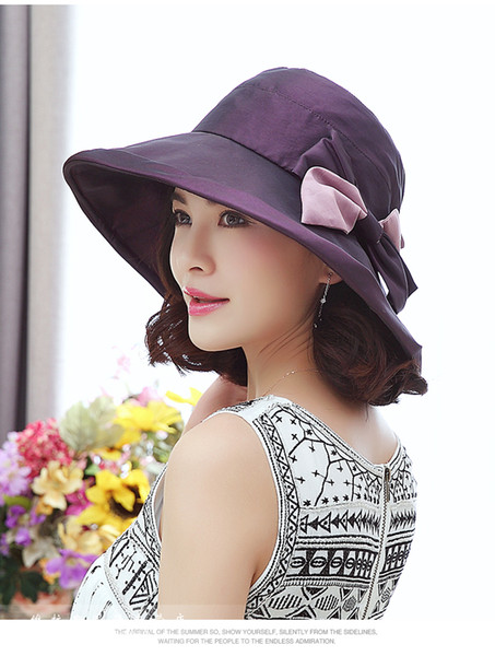 Lady Travel Hat Female Summer Wide Brim Sun Cap Girls Outside Travel Uv Protection Sun Cap Foldable Bow Hats Adjustable B-8683