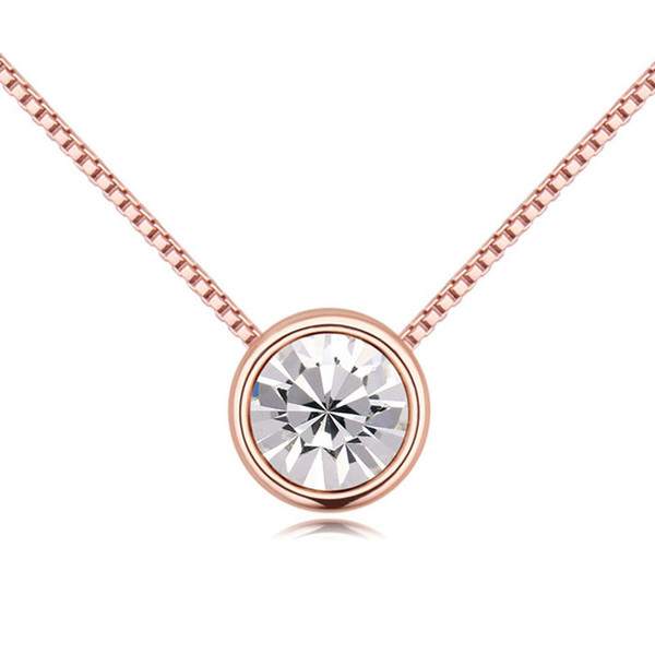 Fashion Circular Pendant Round Crystal From Swarovski Rose Gold Color Statement Necklaces For Women Wedding Party Jewelry Gift