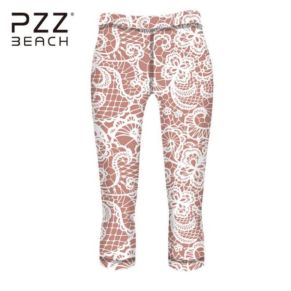 Compre 3/4 Pantalones De Yoga De Súper Elasticidad Patrón Floral Sin ...