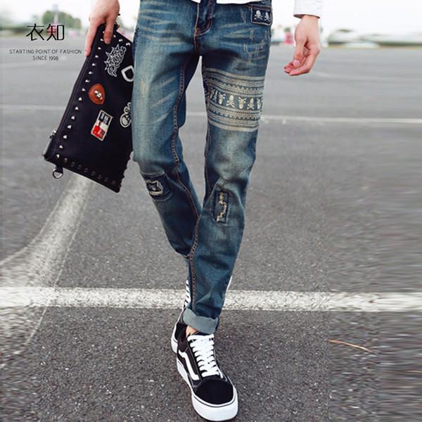 2018 england style fashion slim jeans for men , Slim plus size men's pencil pants , hole thin casual jeans mens pants