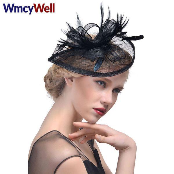 WmcyWell Ladies Royal Fascinators Wedding Races Cocktail Fascinator Women Linen Feather Hat Party Fedora Cap