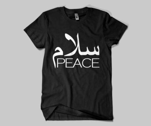 Арабская футболка Салам мира приветствие печати английский черный логотип Ислам мусульманские мужские прохладный повседневная гордость Майка мужчины унисекс