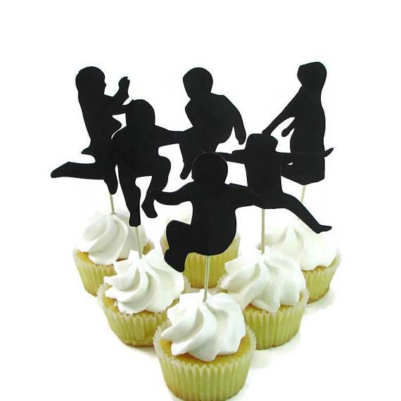 New Year Jump Party Silhouette Cupcake Toppers Party Picks baby shower wedding birthday toothpicks decor