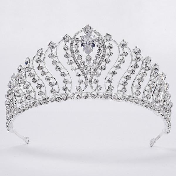 2019 Haute Qualité Princesse Cristaux De Mariage Couronne Diadème De Mariée Couronne Effacer Strass Mariée Tiara Couronne Pas Cher