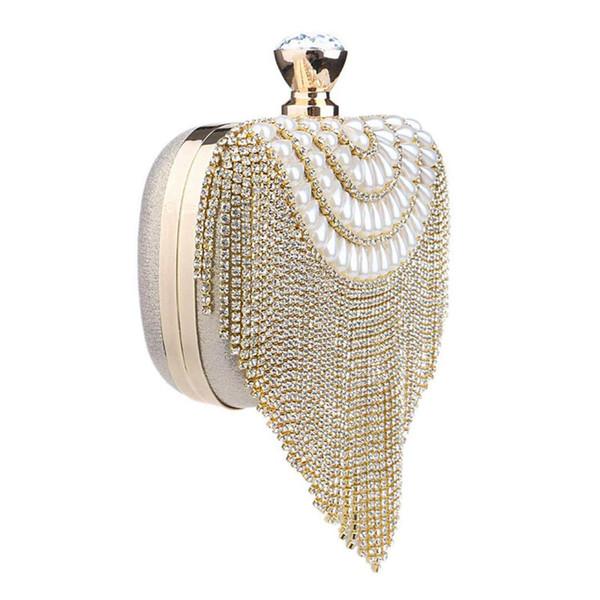 TEXU Mulheres Borla Embreagem Diamantes Beading Pequena Bolsa Ombro Cadeia Bolsas de Festa de Casamento Da Senhora Saco de Noite