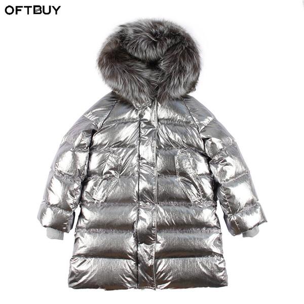 OFTBUY Silver Parka Long Parkas Winter Jacket Women Real Fur Coat Natural Raccoon Fur Duck Down Coat Thick Warm Streetwear Brand